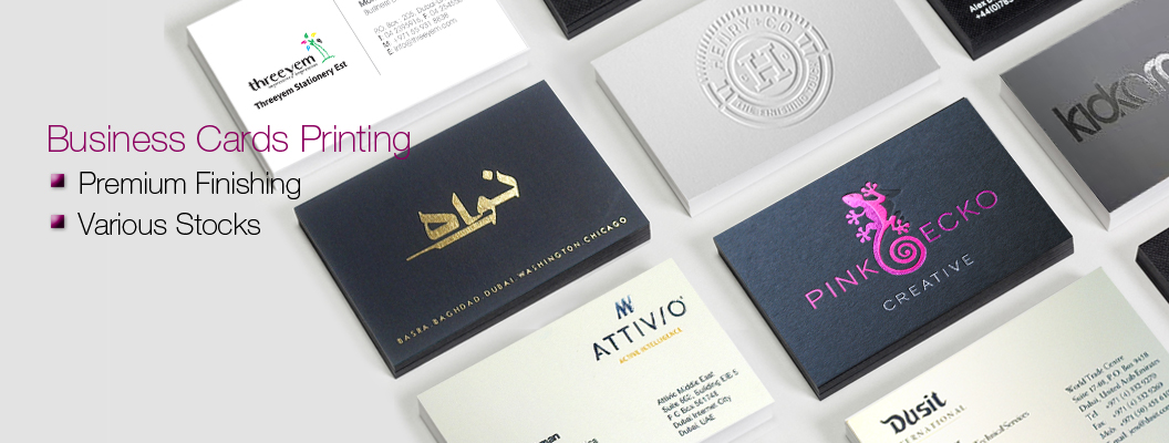 Printing service dubai threeyem offers offset digital printing foil business cards reheart Images